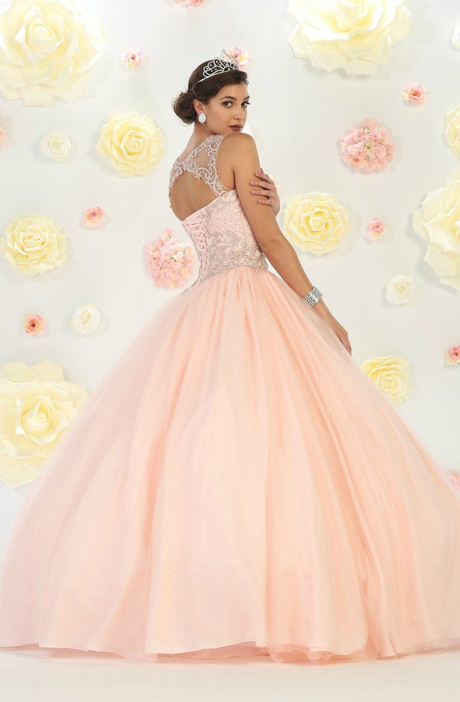 * Long High Neck Illusion Blush Ball Gown