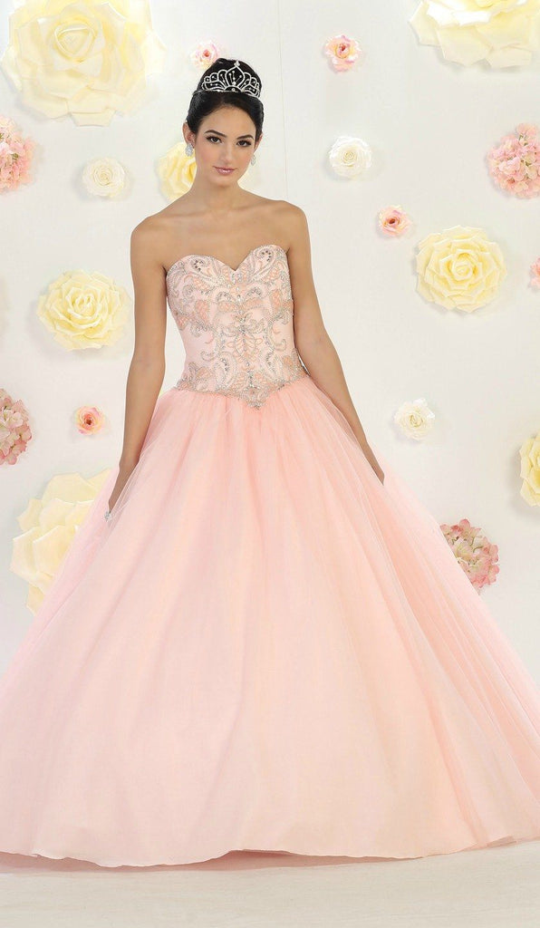 * Long Corset Blush Ball Gown with Silver Beading