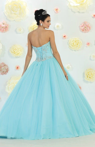 * Long Corset Blush Ball Gown with Beading