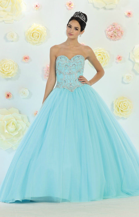 * Long Corset Aqua Blue Ball Gown with Beading