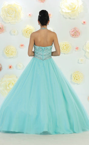 * Long High Neck Long Blush Ball Gown
