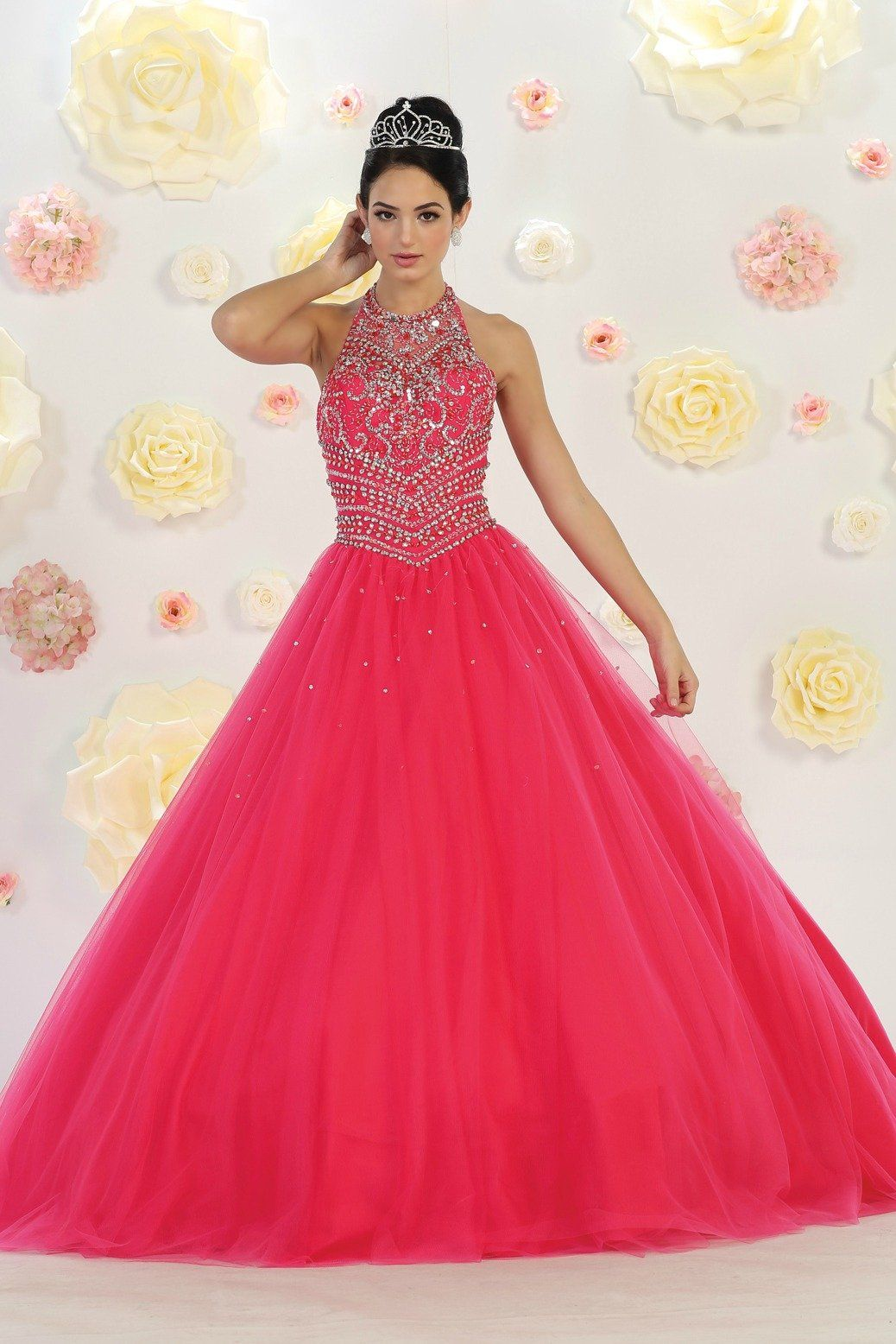 Long High Neck Long fuchsia Ball Gown