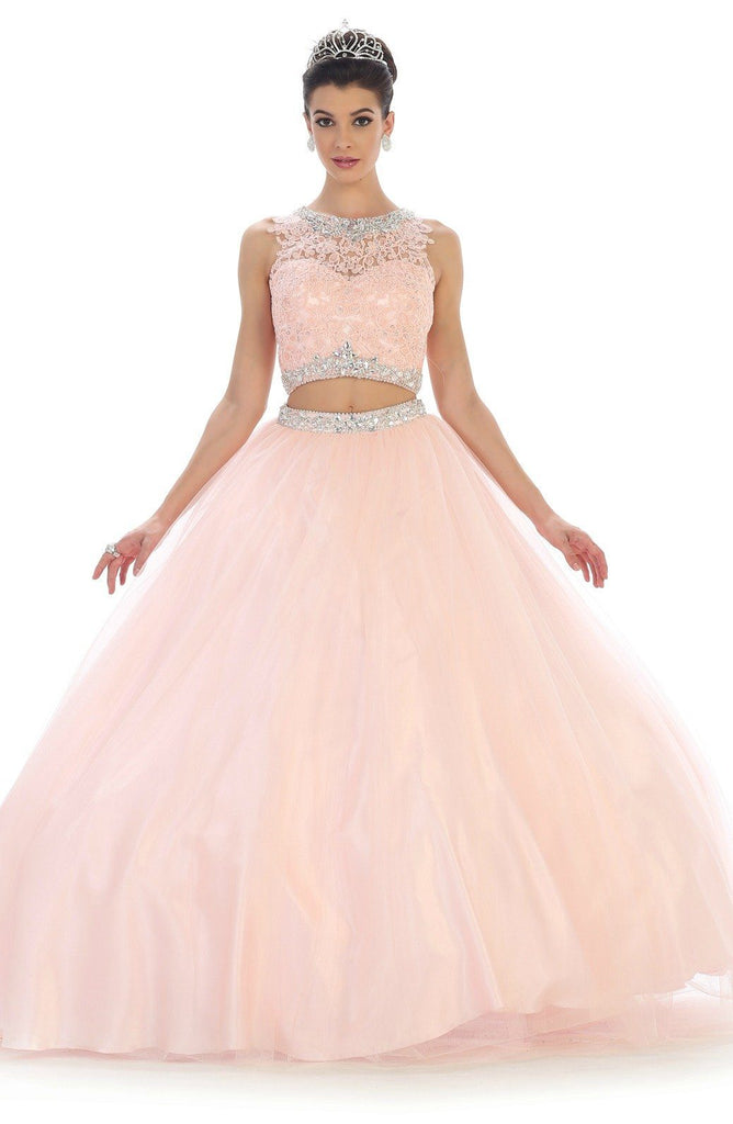 Long Two Piece Pink Ball Gown