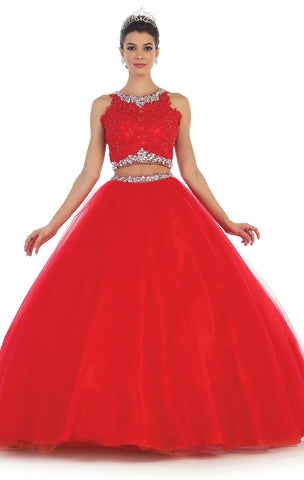 Long Two Piece Red Ball Gown