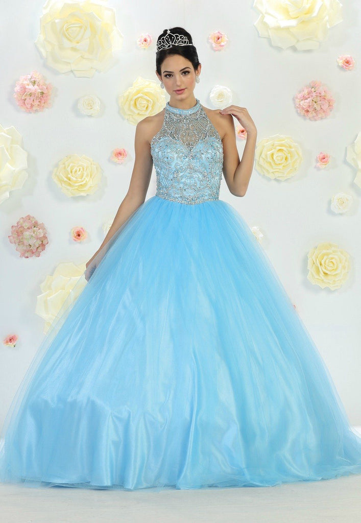 * Long High Neck Aqua Blue Ball Gown