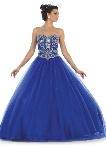 * Long Strapless Royal Blue Ball Gown with Corset Back