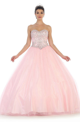 * Long Strapless Blush Ball Gown with Corset Back