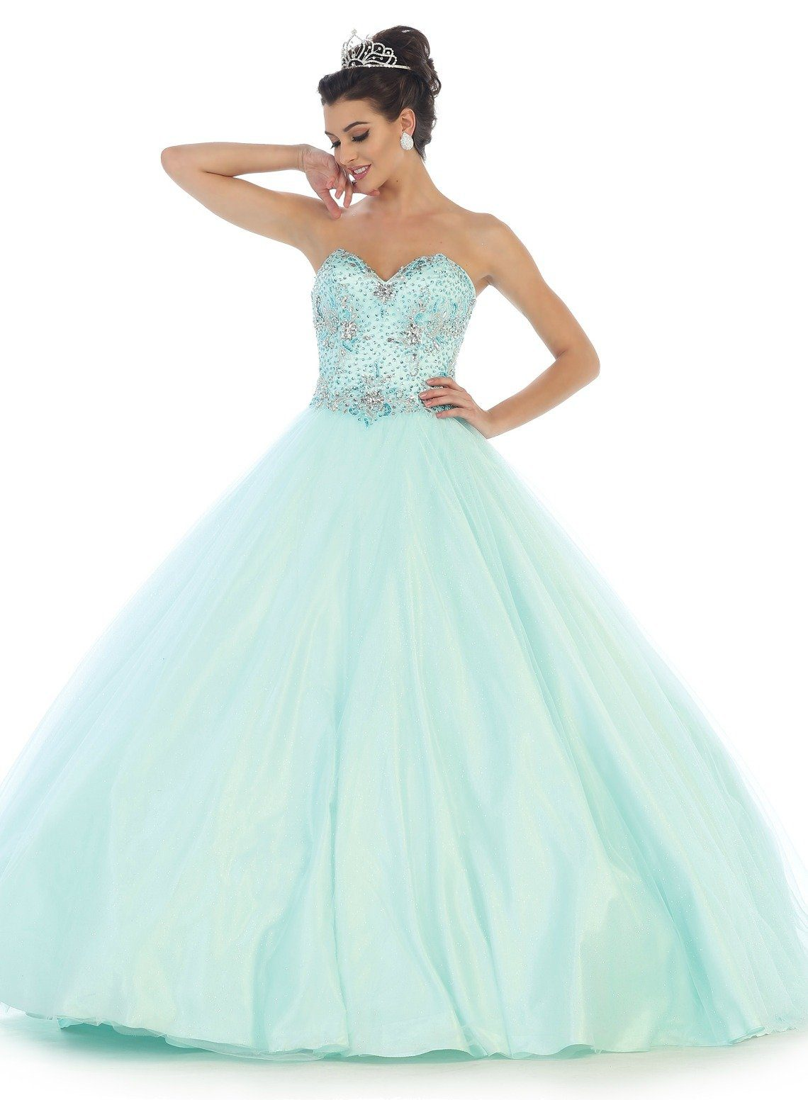 * Long Strapless Beaded Aqua Ball Gown