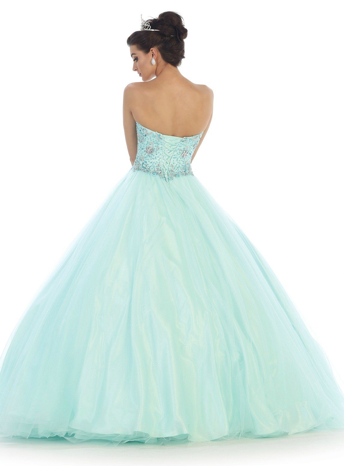 Long Strapless Beaded Mint Ball Gown