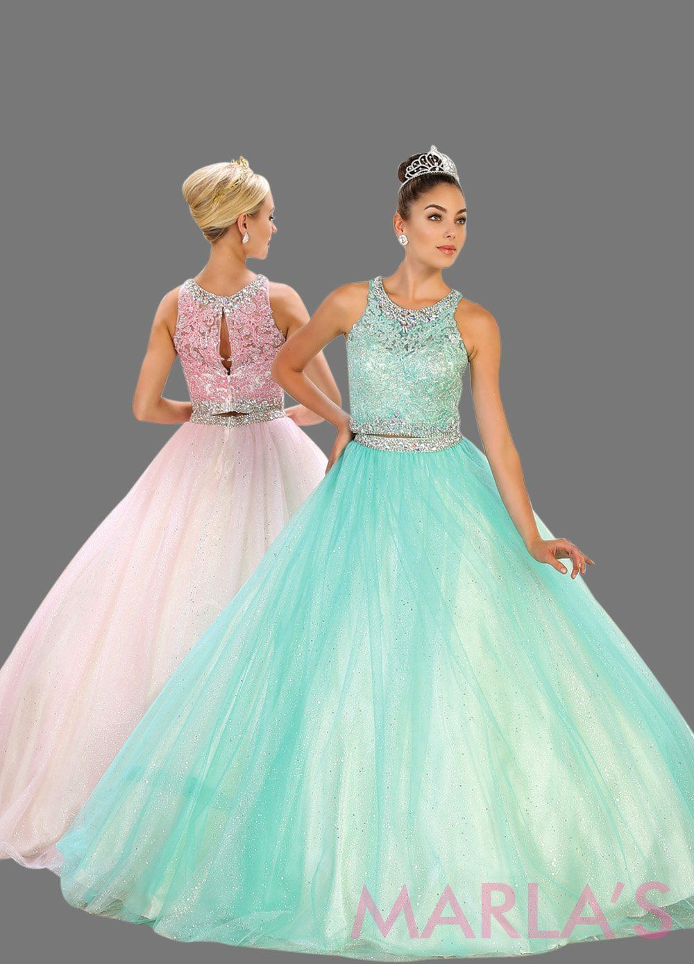 Long Pink Two Piece Ball Gown With Tulle Skirt - MarlasFashion ...