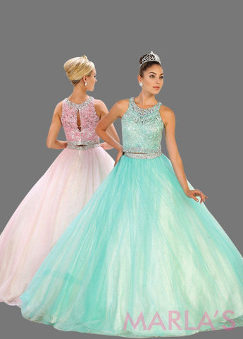 Long two piece aqua mint ball gown with beaded bodice and tulle skirt. This 2 piece ballgown is perfect for your Quinceanera, Sweet 15, Sweet 16, Reception Wedding Dress, Engagement Dress, Prom