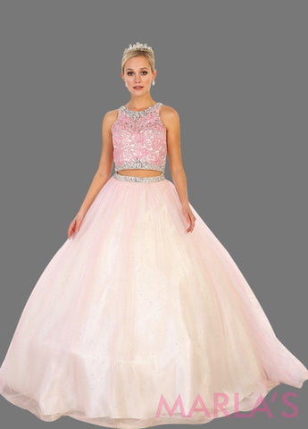 Long two piece blush pin ball gown with beaded bodice and tulle skirt. This 2 piece ballgown is perfect for your Quinceanera, Sweet 15, Sweet 16, Reception Wedding Dress, Engagement Dress, Prom
