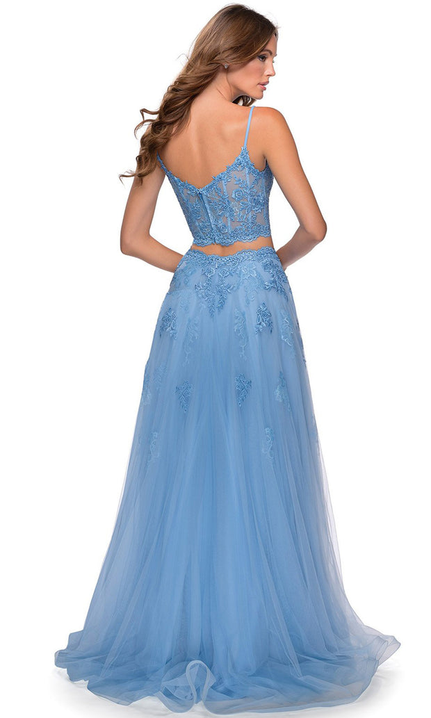 La Femme - 28271 Two-Piece Floral Lace Tulle A-Line Gown In Blue
