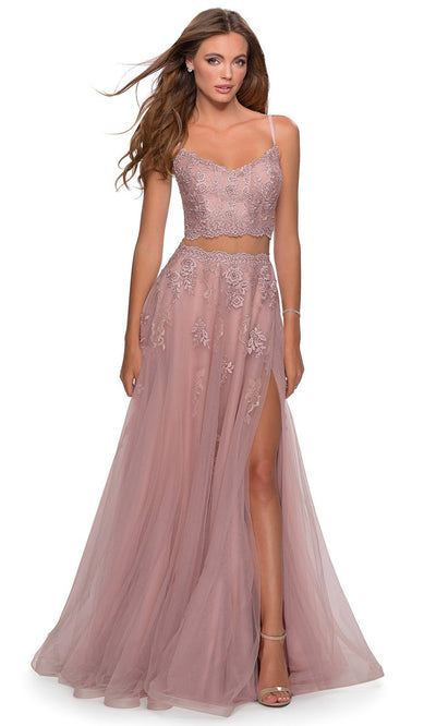 La Femme - 28271 Two-Piece Floral Lace Tulle A-Line Gown In Mauve