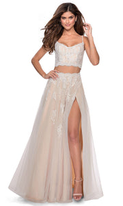 La Femme - 28271 Two-Piece Floral Lace Tulle A-Line Gown In White & Ivory