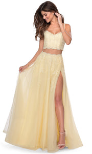 La Femme - 28271 Two-Piece Floral Lace Tulle A-Line Gown In Yellow