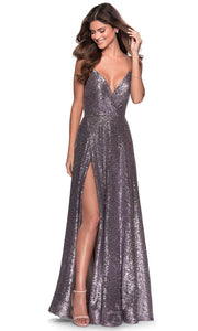 La Femme - 28276 Lace-Up Open Back Sequin A-Line Gown In Silver & Gray