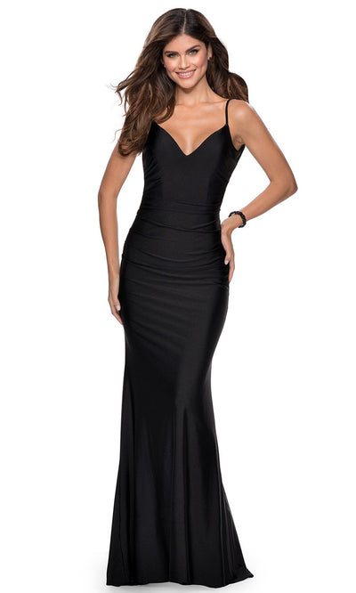 La Femme - 28287 Backless V-Neck Fitted Long Evening Dress In Black