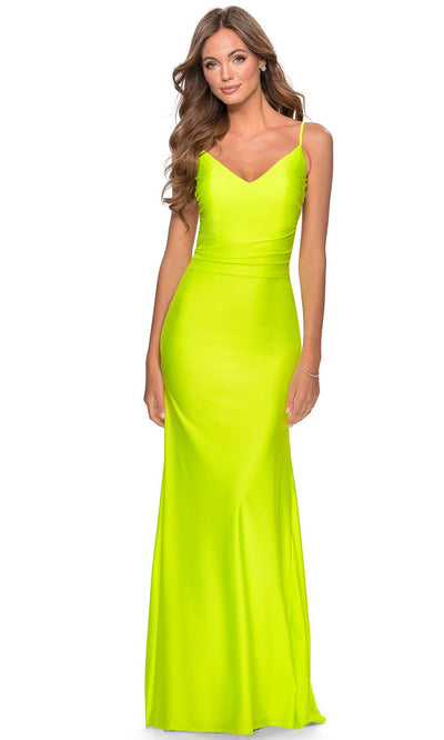 La Femme - 28287 Backless V-Neck Fitted Long Evening Dress In Yellow
