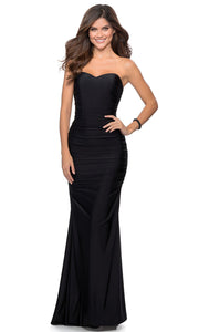 La Femme - 28324 Strapless Sweetheart Jersey Dress In Black