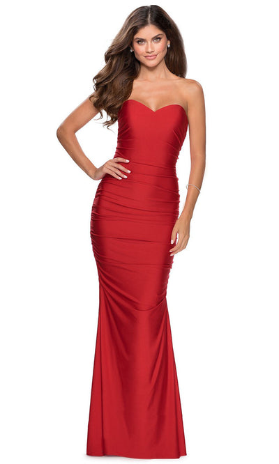 La Femme - 28324 Strapless Sweetheart Jersey Dress In Red