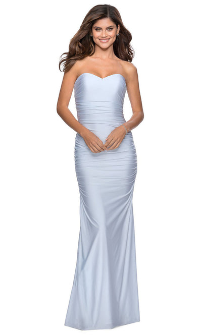 La Femme - 28324 Strapless Sweetheart Jersey Dress In White & Ivory
