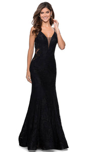 La Femme - 28355 Sparkly Lace Illusion Bodice Mermaid Gown In Black