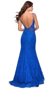 La Femme - 28355 Sparkly Lace Illusion Bodice Mermaid Gown In Blue
