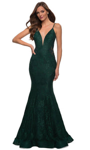 La Femme - 28355 Sparkly Lace Illusion Bodice Mermaid Gown In Green