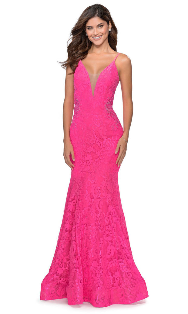 La Femme - 28355 Sparkly Lace Illusion Bodice Mermaid Gown In Pink
