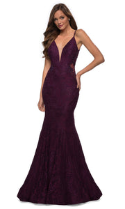 La Femme - 28355 Sparkly Lace Illusion Bodice Mermaid Gown In Red