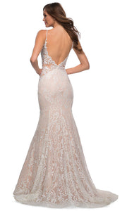 La Femme - 28355 Sparkly Lace Illusion Bodice Mermaid Gown In White & Ivory