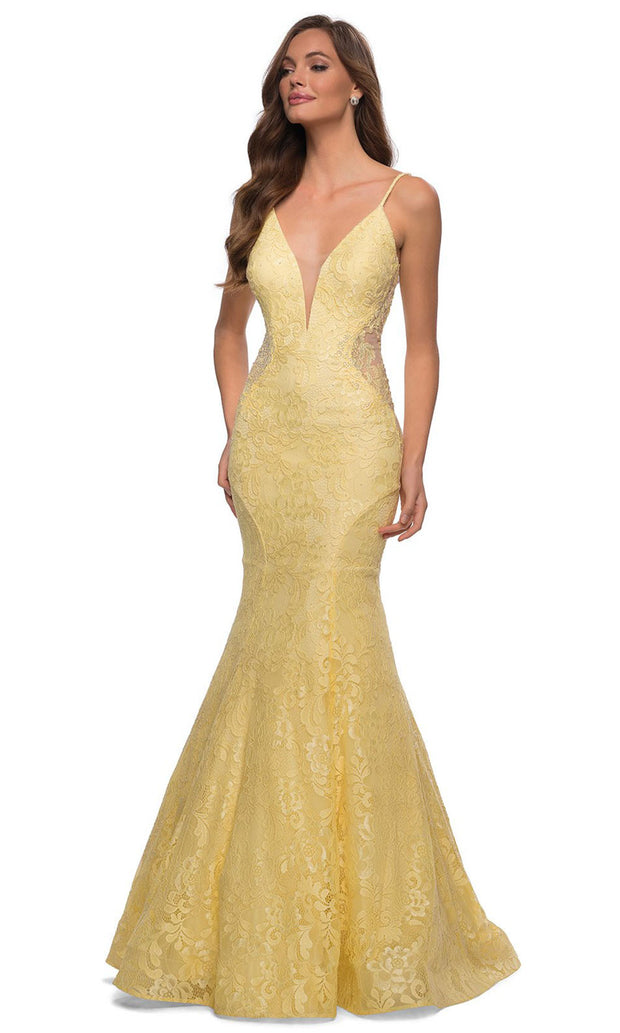 La Femme - 28355 Sparkly Lace Illusion Bodice Mermaid Gown In Yellow