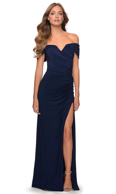 La Femme - 28389 Off Shoulder Sweetheart Neck Fitted Gown In Blue