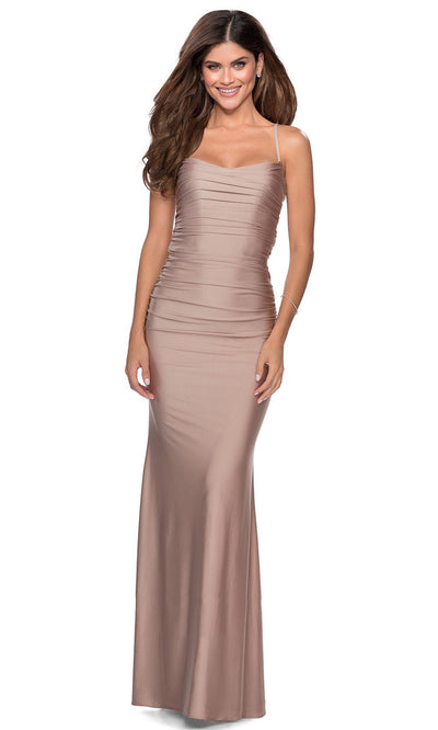 La Femme - 28398 Sleeveless Ruched Bodice Fitted Long Dress In Pink