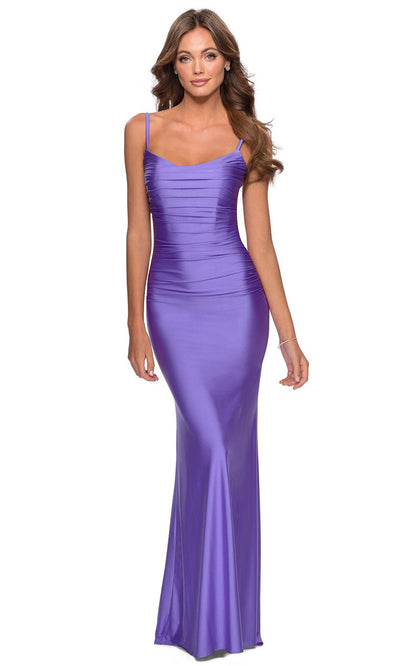 La Femme - 28398 Sleeveless Ruched Bodice Fitted Long Dress In Purple