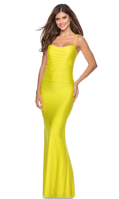 La Femme - 28398 Sleeveless Ruched Bodice Fitted Long Dress In Yellow