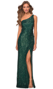 La Femme - 28401 One Shoulder Fitted Sequin Evening Gown In Green