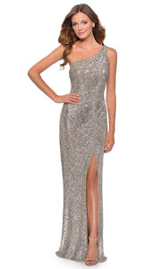 La Femme - 28401 One Shoulder Fitted Sequin Evening Gown In Silver & Gray