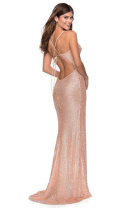 La Femme - 28429 Draped V-Neck Sequin Dress In Champagne & Gold