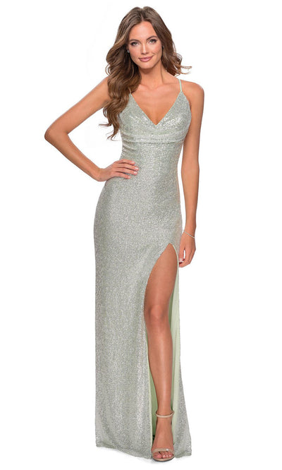 La Femme - 28429 Draped V-Neck Sequin Dress In Green
