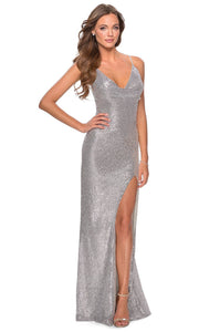 La Femme - 28429 Draped V-Neck Sequin Dress In Silver & Gray