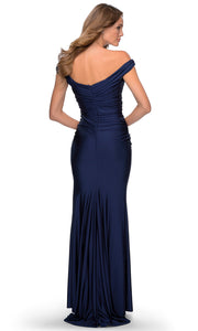 La Femme - 28450 Pleated Off-Shoulder Fitted Evening Dress In Blue