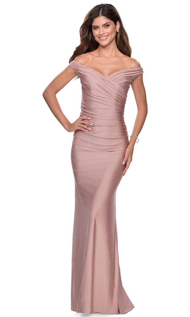 La Femme - 28450 Pleated Off-Shoulder Fitted Evening Dress In Mauve