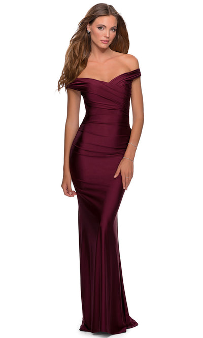 La Femme - 28450 Pleated Off-Shoulder Fitted Evening Dress In Red