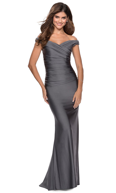 La Femme - 28450 Pleated Off-Shoulder Fitted Evening Dress In Silver & Gray