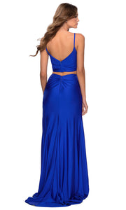 La Femme - 28472 Sleeveless V-Neck Two-Piece Fitted Dress In Blue