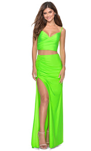 La Femme - 28472 Sleeveless V-Neck Two-Piece Fitted Dress In Green