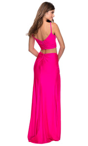 La Femme - 28472 Sleeveless V-Neck Two-Piece Fitted Dress In Pink