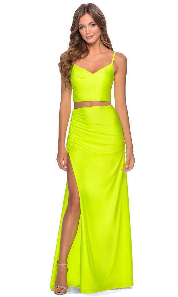 La Femme - 28472 Sleeveless V-Neck Two-Piece Fitted Dress In Yellow